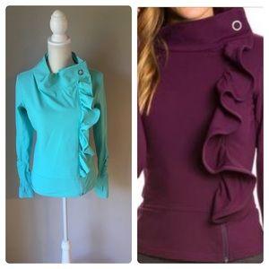 Karma zip up ruffle sweatshirt Medium Light Blue